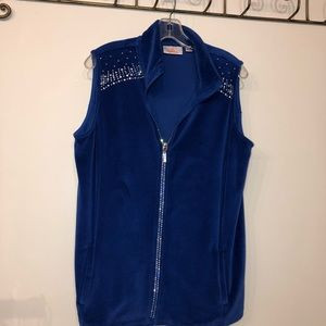 Quacker Factory Royal Blue Fleece Vest size M
